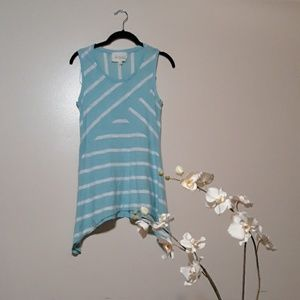 Two by Vince Camuto Striped A Symmetric Tank